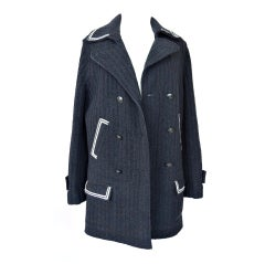 Chanel 07A Coat Peacoat Jacket Black White Detail Great Buttons 44