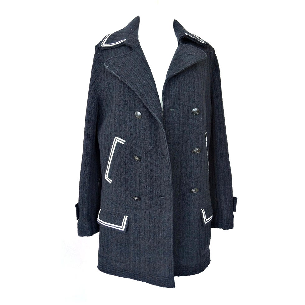 CHANEL 07A Coat Peacoat Jacket Black White Detail Great Buttons 44 1