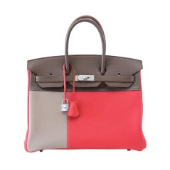 HERMES BIRKIN 35 Bag Casaque Rose Jaipur Etoupe Argile Brushed p