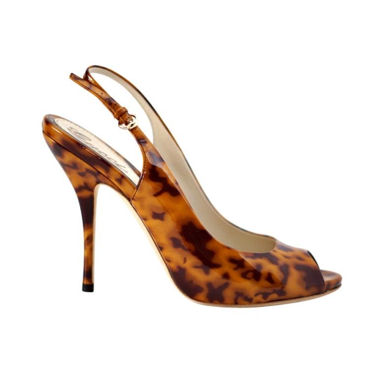 GUCCI shoe patent tortoise open toe slingback heel 7 1