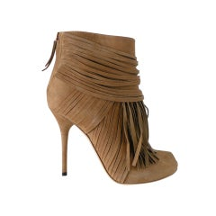 GUCCI shoe ACKERMAN ankle fringed boot peeptoe 6.5 NEW thumbnail 1