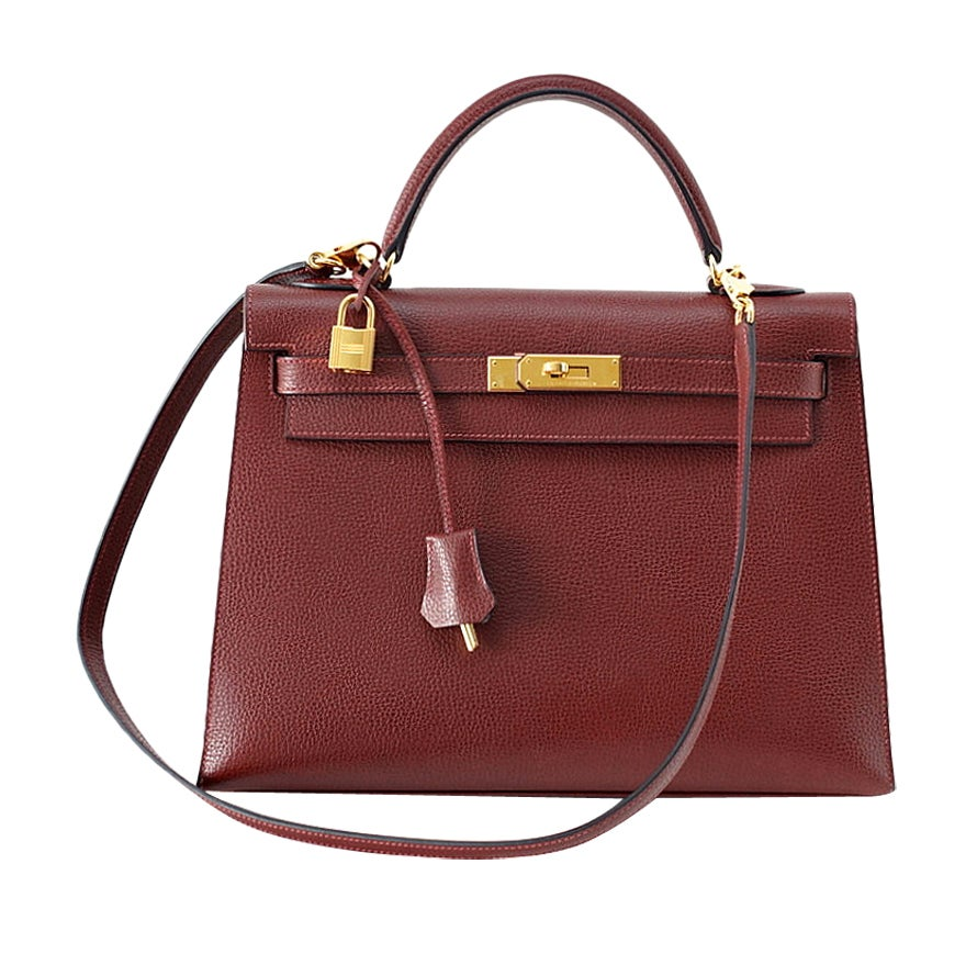 HERMES KELLY 32 Sellier Rouge H Gold hardware rare find 1