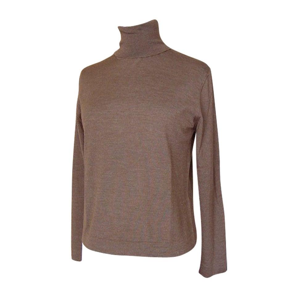 HERMES Feather light Cashmere Top gorgeous mocha colour M mint For Sale