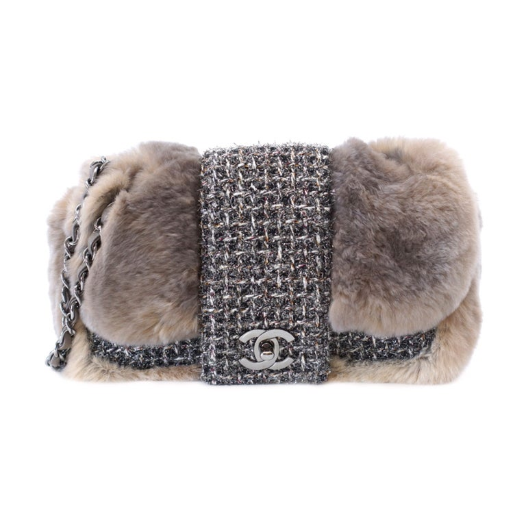 CHANEL bag Rabbit fur taupe fantasy tweed Limited Edition 1
