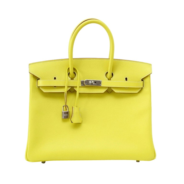 HERMES BIRKIN 35 Bag Limited Edition Candy LIME Gris Interior Epsom Palladium 1