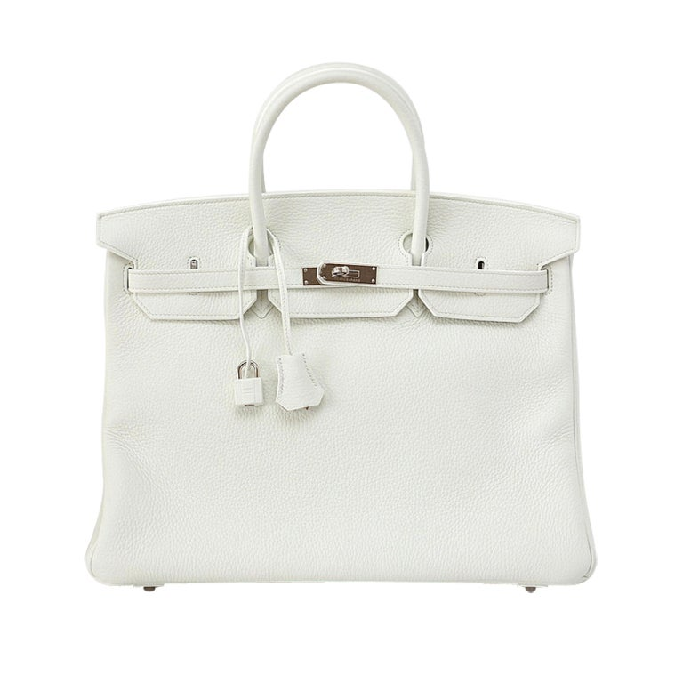 HERMES Birkin 40 Bag WHITE togo leather palladium hardware 1