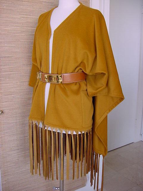 HERMES vintage shawl lush leather fringe Poncho style Cashmere and wool 2