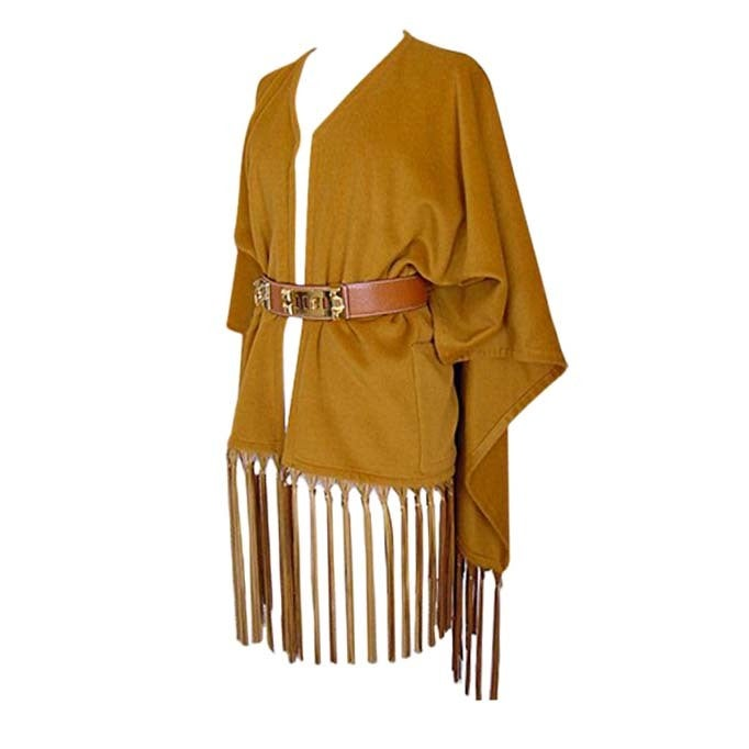 HERMES vintage shawl lush leather fringe Poncho style Cashmere and wool 1