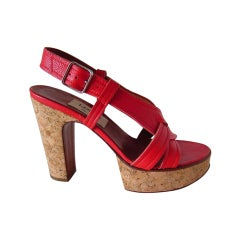 LANVIN Shoe Cork Platform Rich Red Leather 37 / 7