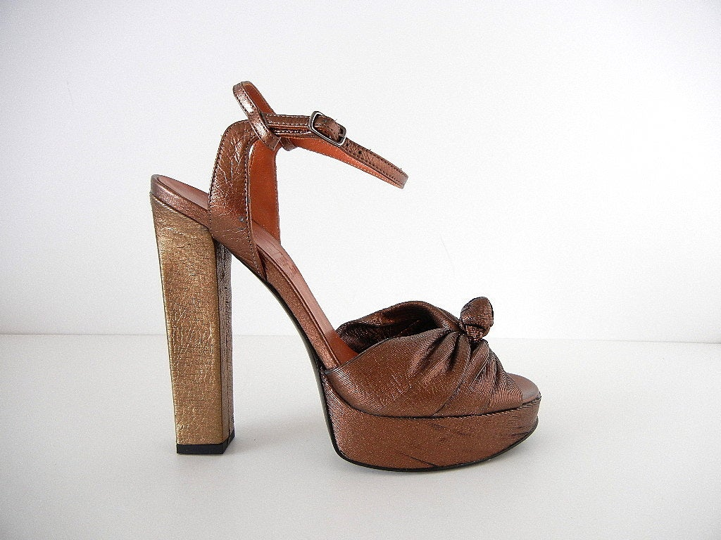 LANVIN Shoe Gold Bronze Laser Cut Textile Platform Open Toe 39 / 9  2