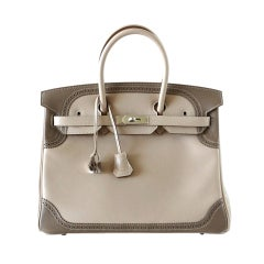 HERMES BIRKIN 35 Bag Limited Edition Ghillies Palladium
