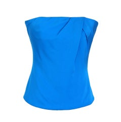 GUCCI Top Cool Blue Strapless Silk  42 fits 6 nwt