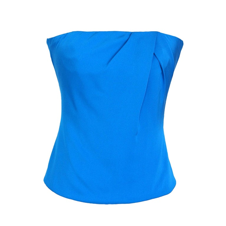 Gucci Top Cool Blue Strapless Silk  42 fits 6 nwt For Sale