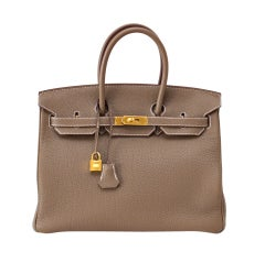Hermes Birkin 35 Bag eToupe Coveted w/ Gold Gardware