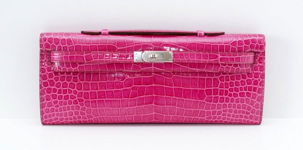 HERMES Clutch KELLY CUT coveted Fuschia Pink Porosus Crocodile 2