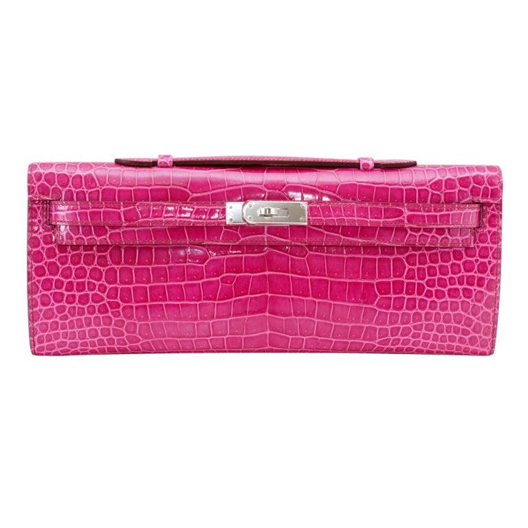 HERMES Clutch KELLY CUT coveted Fuschia Pink Porosus Crocodile