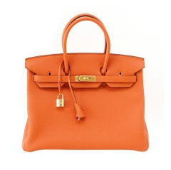 HERMES BIRKIN 35 Bag coveted fresh H ORANGE gold hardware