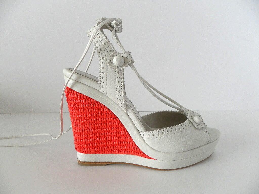 Balenciaga Shoe White Leather Ankle Tie Rafia Coral Wedge
