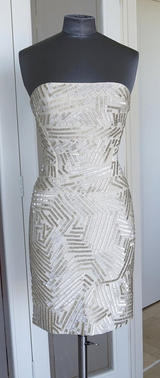 HERVE LEGER Dress Signature Bandage Strapless Silver Bugle Beads S 2