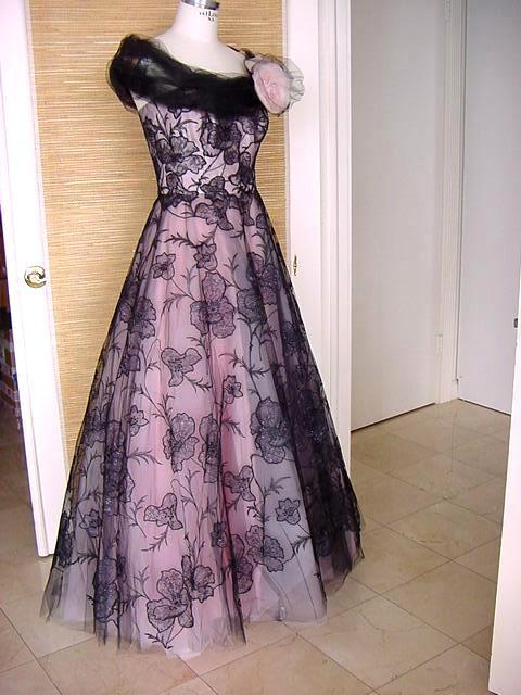 BRENDA A. Custom Formal Gown Pink and Black Tulle Lace Flowers 6 2