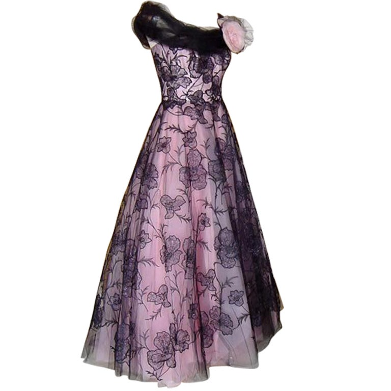 BRENDA A. Custom Formal Gown Pink and Black Tulle Lace Flowers 6 1