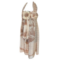 CHANEL Dress whisper light Silk Halter 6 NWT heaps CC Lion Face