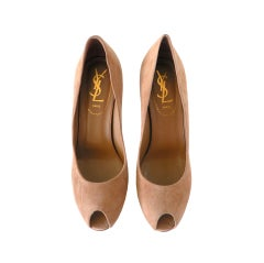 YVES SAINT LAURENT shoe Peeptoe suede pump 6.5 New/box
