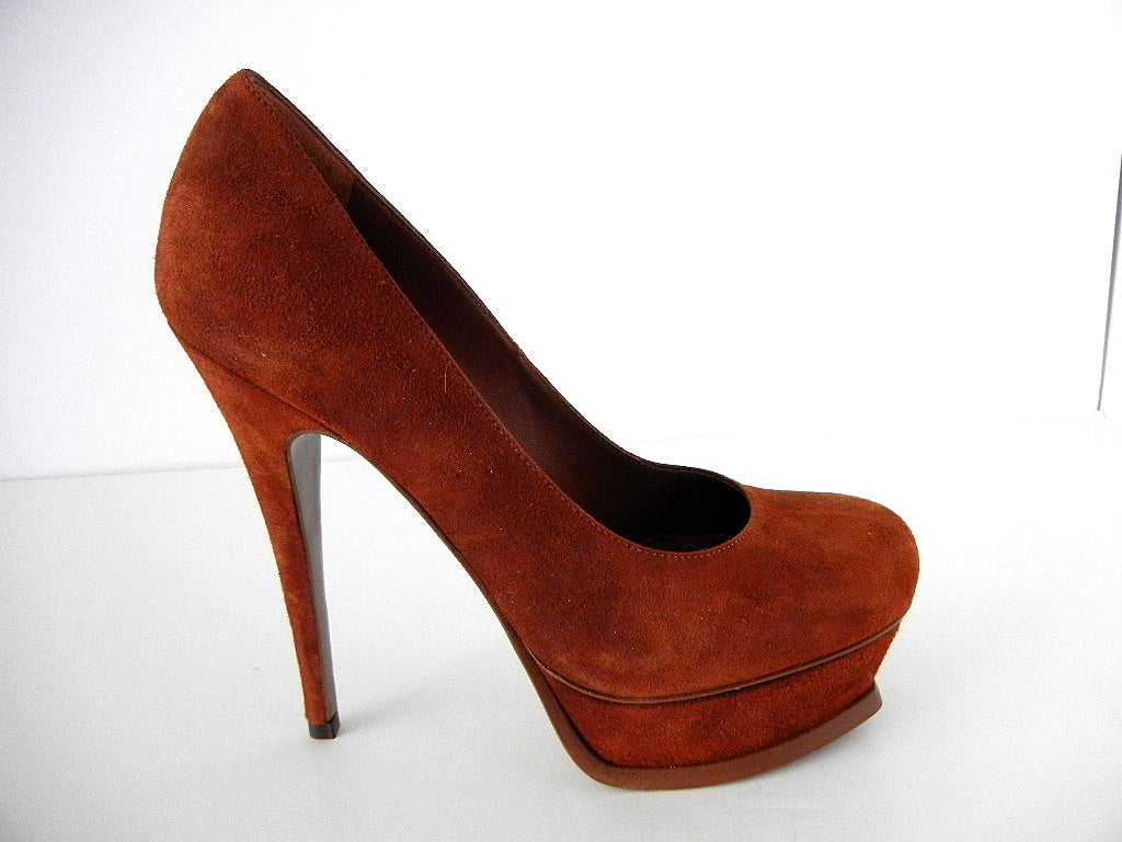 6ebaca76a89 ... 36.5 / 6.5 New For Sale. Guaranteed authentic YVES SAINT LAURENT shoe  cinnamon suede softly rounded toe pump. Unique platform has