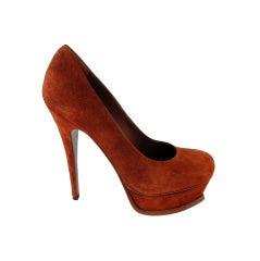 99a0cb56f2e YSL High Heel Sandals 'Tributes' Model 35FR in Brown Velvet Calfskin ...