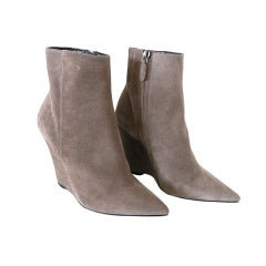 BARBARA BUI shoe Wedge ankle boot Taupe suede 6.5 NW