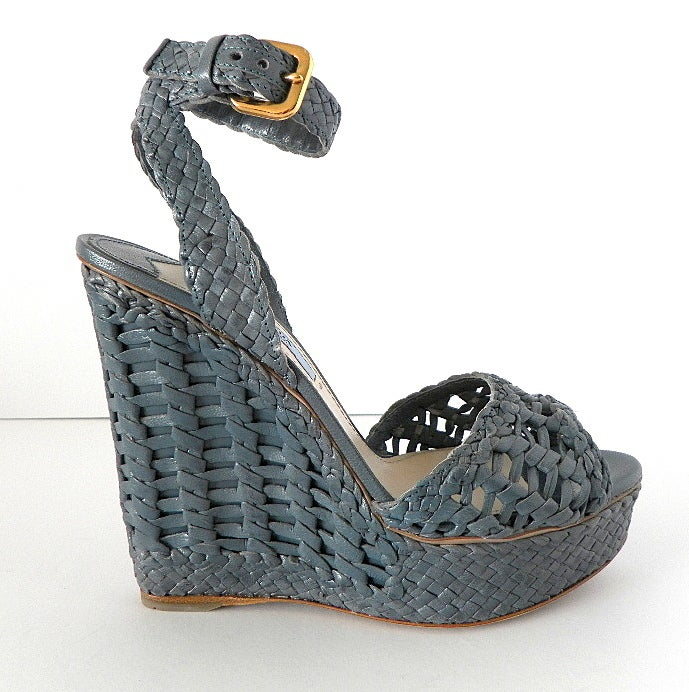 PRADA shoe ankle strap platform wedge woven leather 6.5 NEW image 2