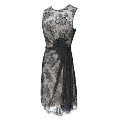 VALENTINO dress exquisite black lace flower applique NEW 6