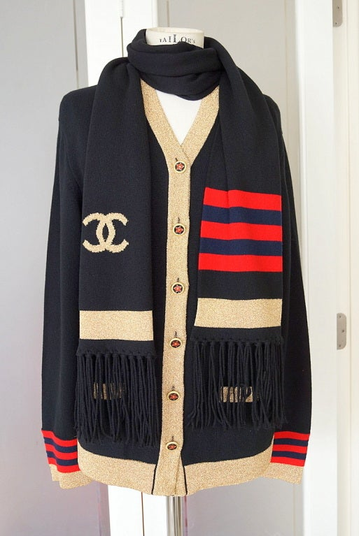 CHANEL 09A Cardigan w Scarf Cashmere Gold Trim star buttons NW 2