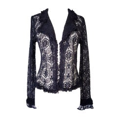 CHANEL 04A crochet shaped jacket ruffle edging NWT 44 8