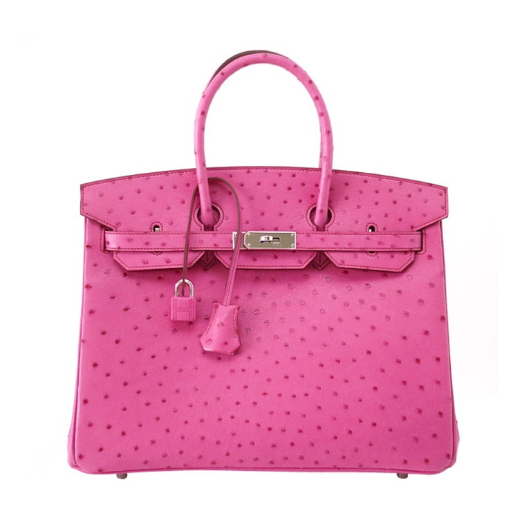 HERMES BIRKIN 35 coveted Fuschia pink Ostrich palladium at 1stdibs