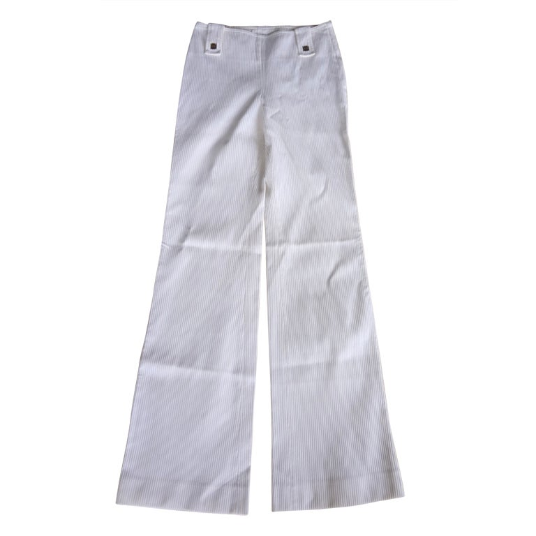 Chanel 01P Pant Milk White Flat Front 36 / 4