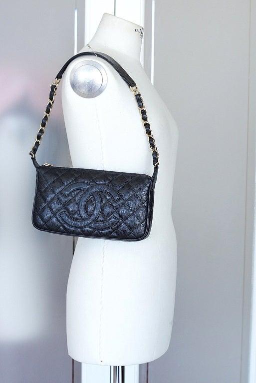 CHANEL bag quilted caviar leather shoulder bag gold hardware 2