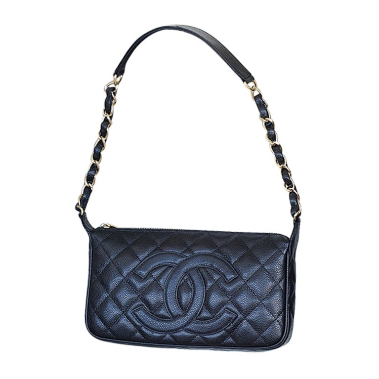 CHANEL bag quilted caviar leather shoulder bag gold hardware 1