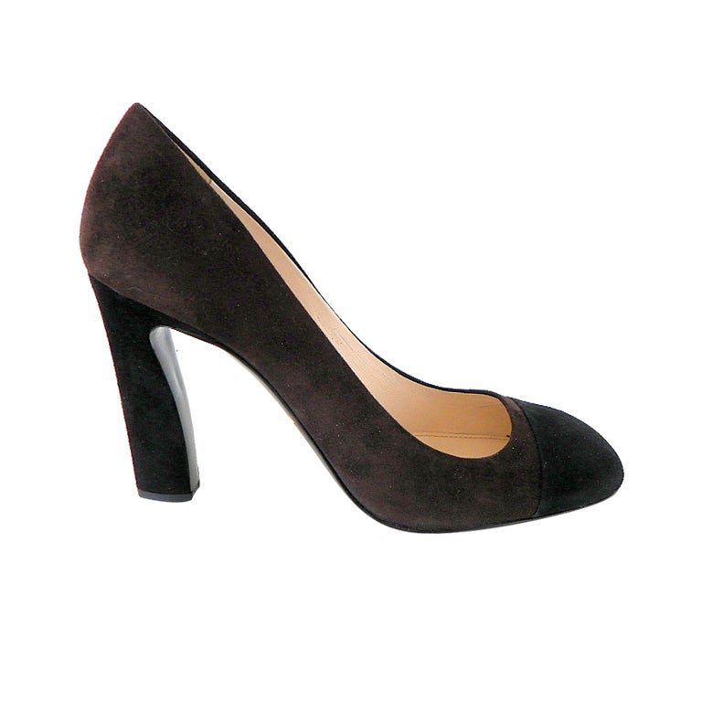 PRADA Shoe Brown and Black Suede Pump 39 / 9 New For Sale