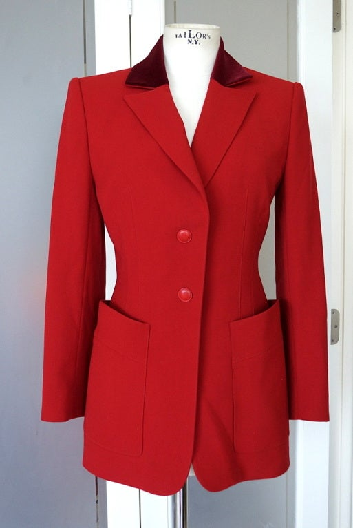 HERMES Vintage Riding Jacket  4 to 6 red velvet collar exquisite 2