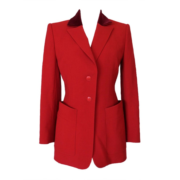 HERMES Vintage Riding Jacket  4 to 6 red velvet collar exquisite 1