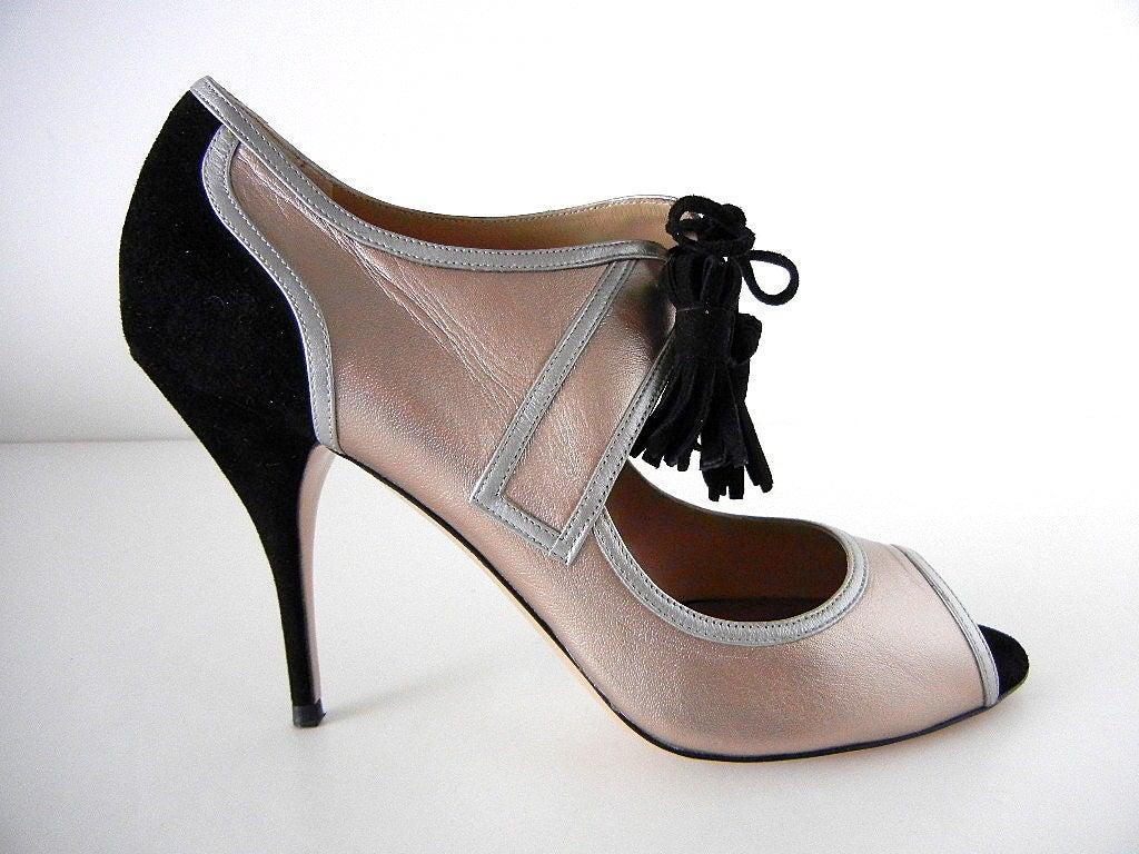 VALENTINO shoe rose gold silver black retro styling 9 NEW 2