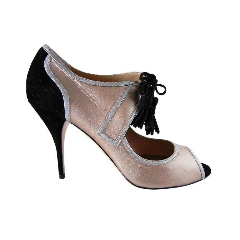 VALENTINO shoe rose gold silver black retro styling 9 NEW 1
