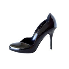 VALENTINO Shoe Jet Black Patent Sweetheart Lines 7 / 37 New
