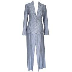 VALENTINO Pant Suit GRAY/WHITE Pinstripe Year Round Fabric 42 / 8