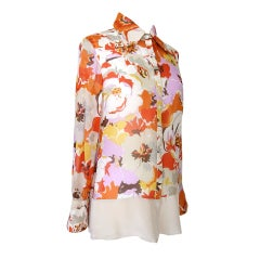 VALENTINO Blouse Silk Top Gorgeous Floral Print 10