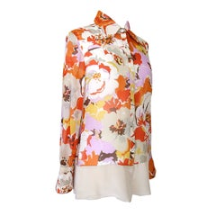 Valentino Floral Print Silk Top Blouse 10
