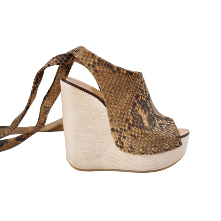 Chloe Shoe Matte Snake Platform Wedge Ankle Wrap 37 5 7 5