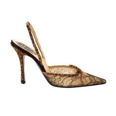 Rene Caovilla Shoe Lace Slingback Faux Fur Leopard Heel 39.5 / 9.5 New