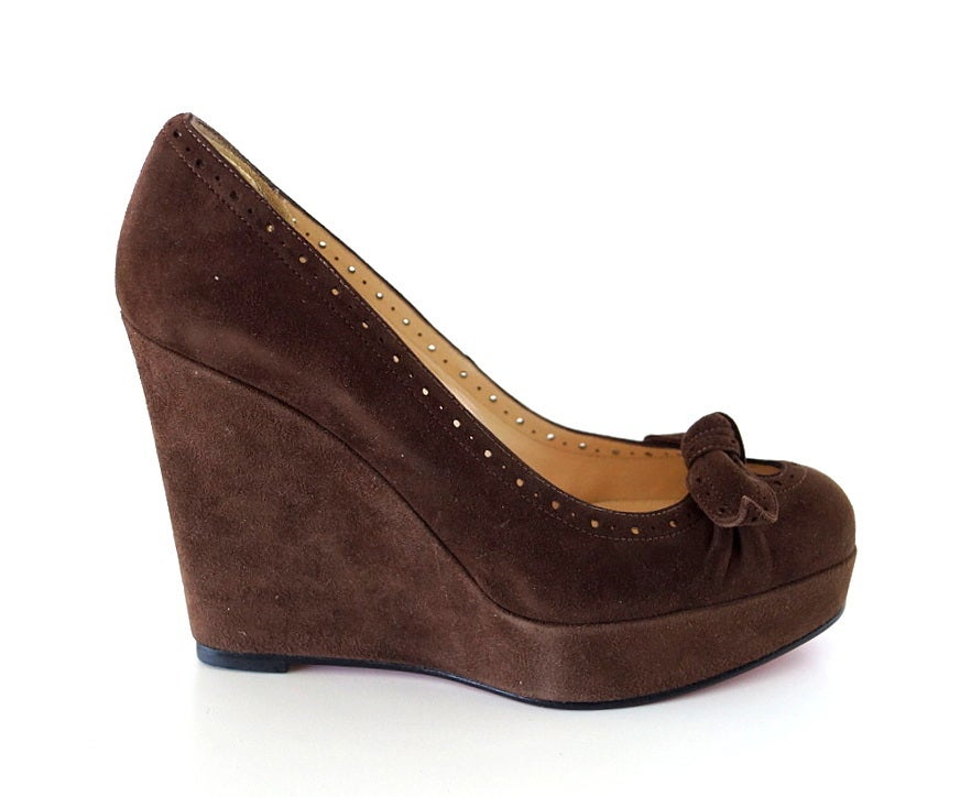 CHRISTIAN LOUBOUTIN Platform Wedge Shoe 37.5 / 7.5 NEW Brown Suede 2